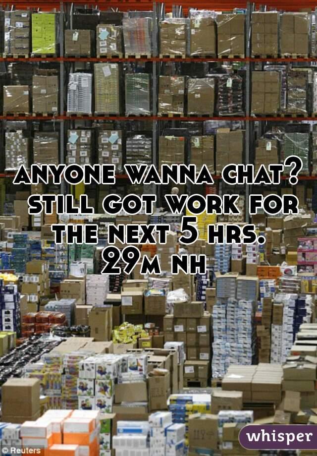 anyone wanna chat? still got work for the next 5 hrs.  29m nh