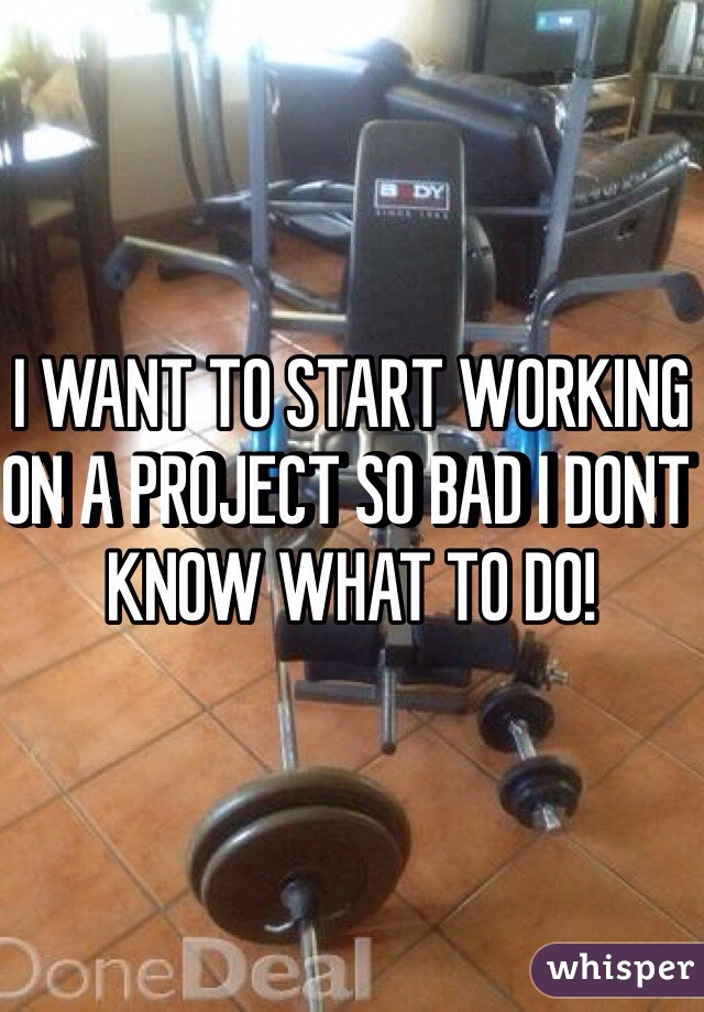 I WANT TO START WORKING ON A PROJECT SO BAD I DONT KNOW WHAT TO DO!