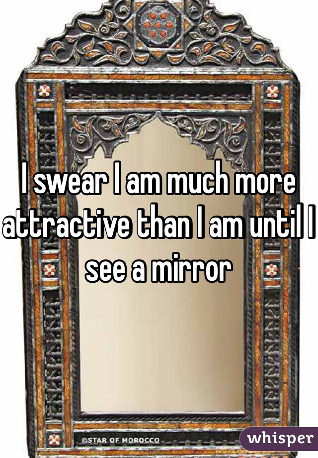 I swear I am much more attractive than I am until I see a mirror