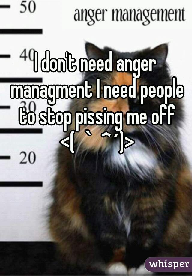 I don't need anger managment I need people to stop pissing me off <(`^´)>