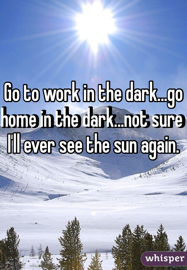 Go to work in the dark...go home in the dark...not sure I'll ever see the sun again.