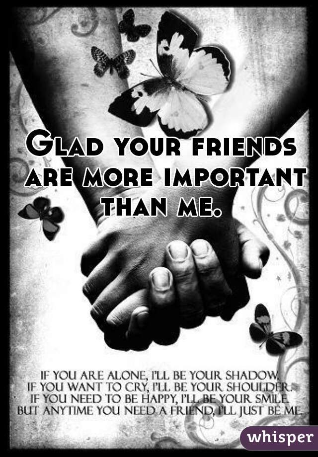 Glad your friends are more important than me.