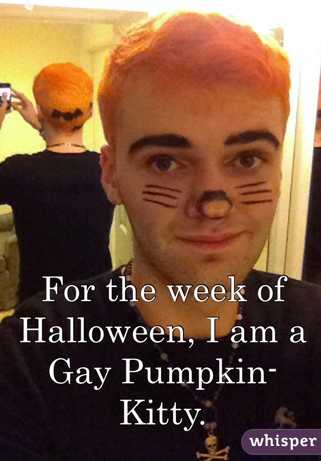 For the week of Halloween, I am a Gay Pumpkin-Kitty.