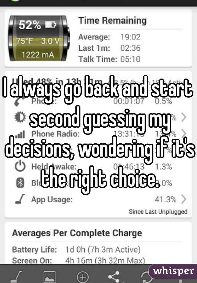 I always go back and start second guessing my decisions, wondering if it's the right choice.