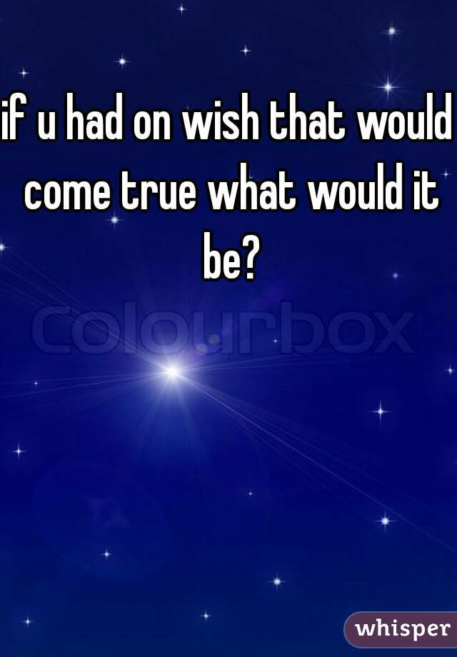 if u had on wish that would come true what would it be?