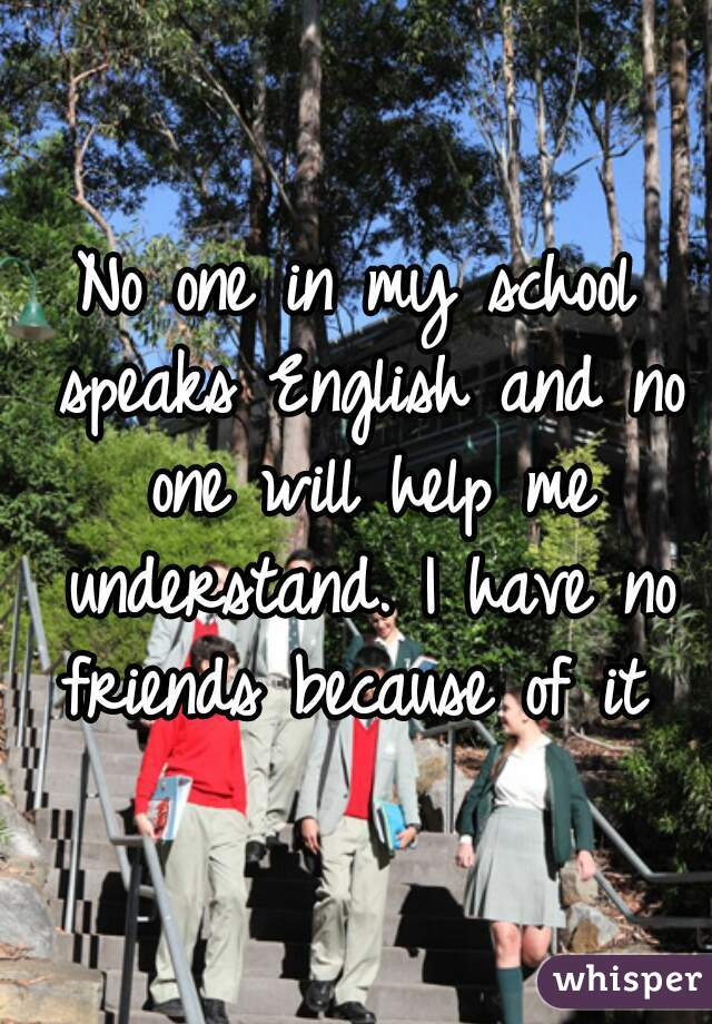 No one in my school speaks English and no one will help me understand. I have no friends because of it