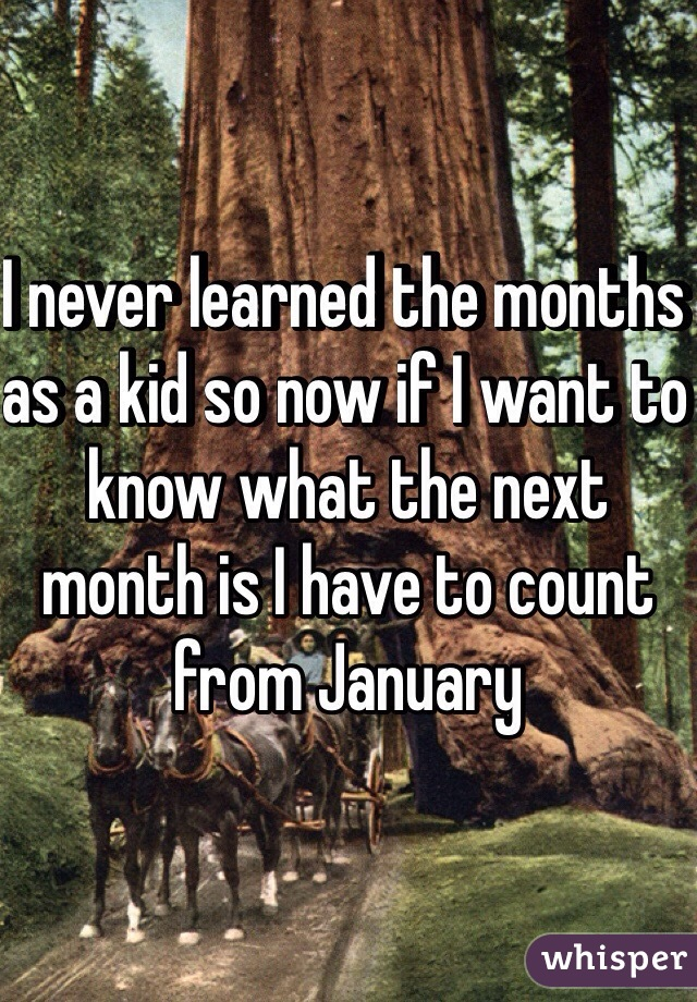I never learned the months as a kid so now if I want to know what the next month is I have to count from January