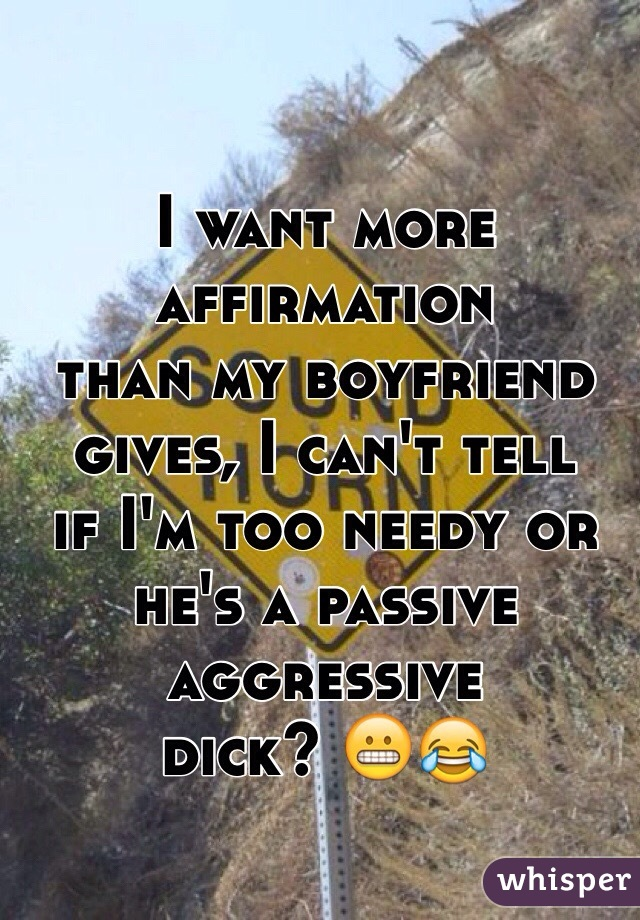 I want more affirmation than my boyfriend  gives, I can't tell if I'm too needy or  he's a passive aggressive dick? 😬😂