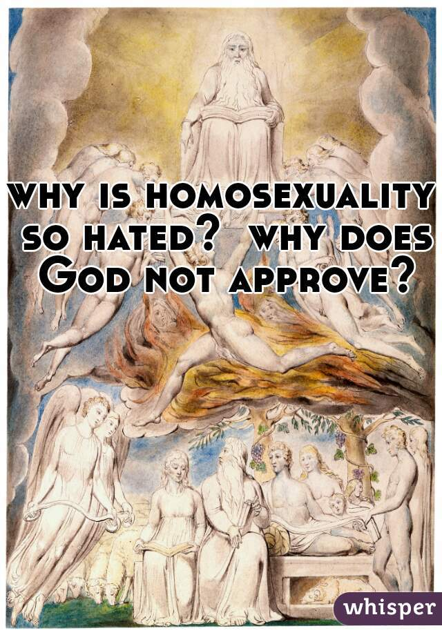 why is homosexuality so hated?  why does God not approve?