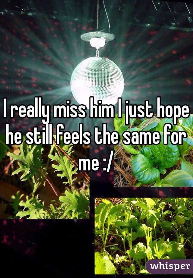 I really miss him I just hope he still feels the same for me :/