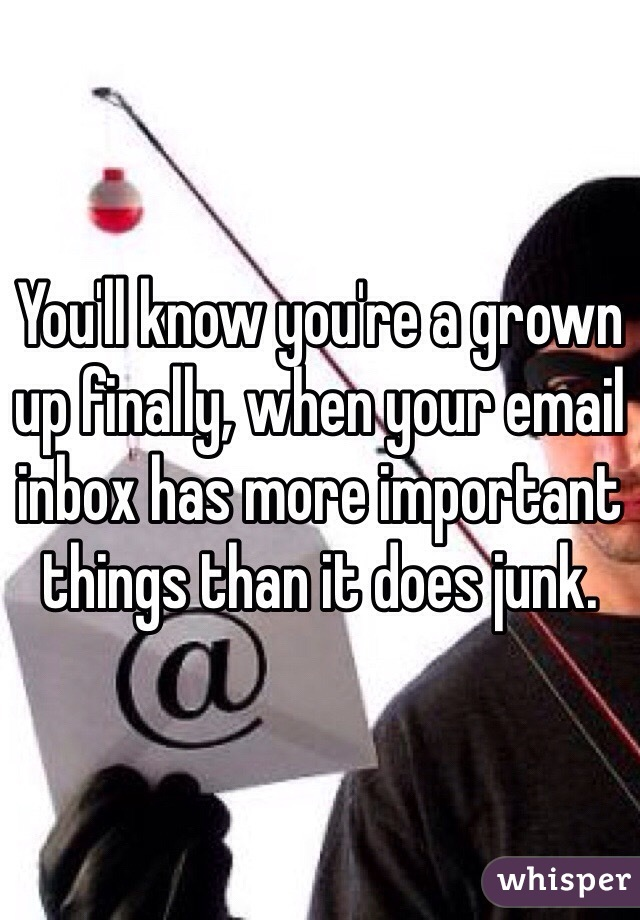 You'll know you're a grown up finally, when your email inbox has more important things than it does junk.