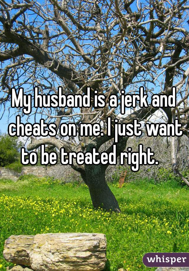 My husband is a jerk and cheats on me. I just want to be treated right.