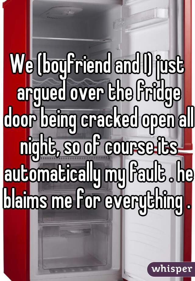 We (boyfriend and I) just argued over the fridge door being cracked open all night, so of course its automatically my fault . he blaims me for everything .