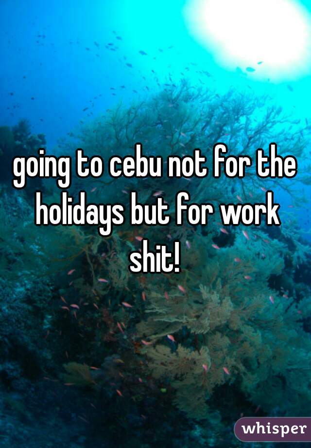 going to cebu not for the holidays but for work shit!