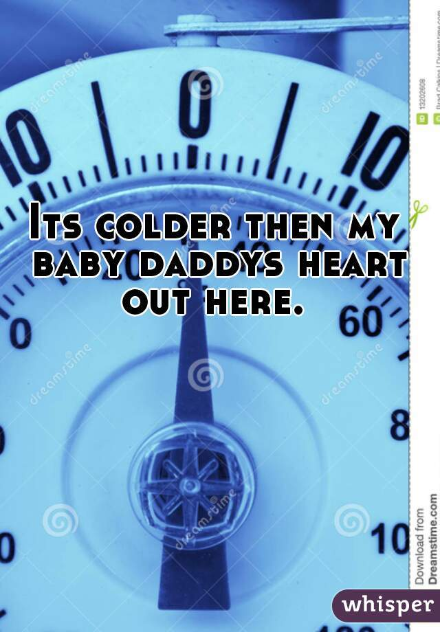 Its colder then my  baby daddys heart out here.