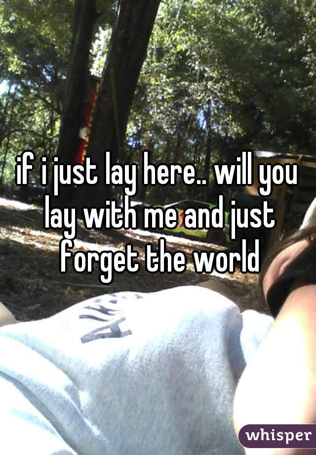 if i just lay here.. will you lay with me and just forget the world