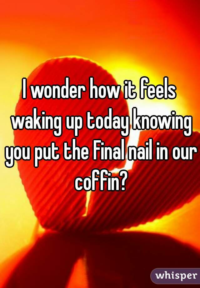 I wonder how it feels waking up today knowing you put the Final nail in our coffin?