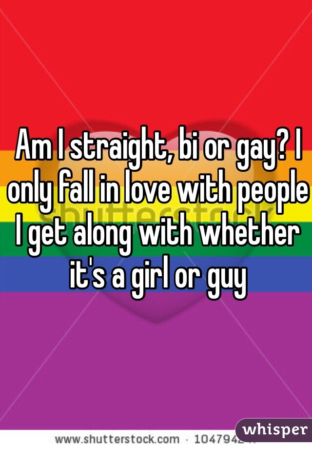 Am I straight, bi or gay? I only fall in love with people I get along with whether it's a girl or guy