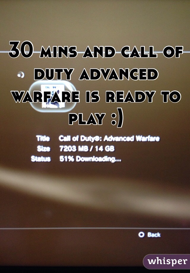 30 mins and call of duty advanced warfare is ready to play :)
