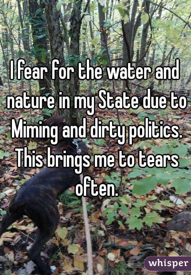 I fear for the water and nature in my State due to Miming and dirty politics. This brings me to tears often.