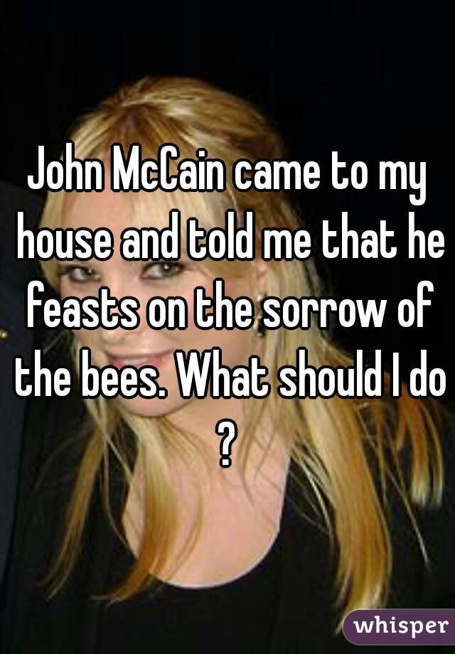 John McCain came to my house and told me that he feasts on the sorrow of the bees. What should I do?