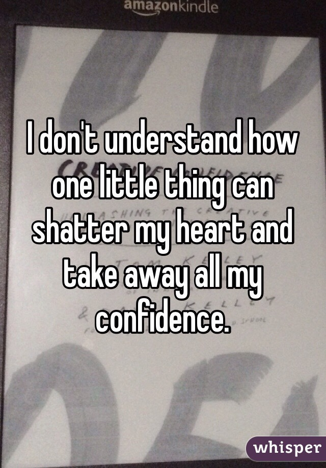 I don't understand how one little thing can shatter my heart and take away all my confidence.