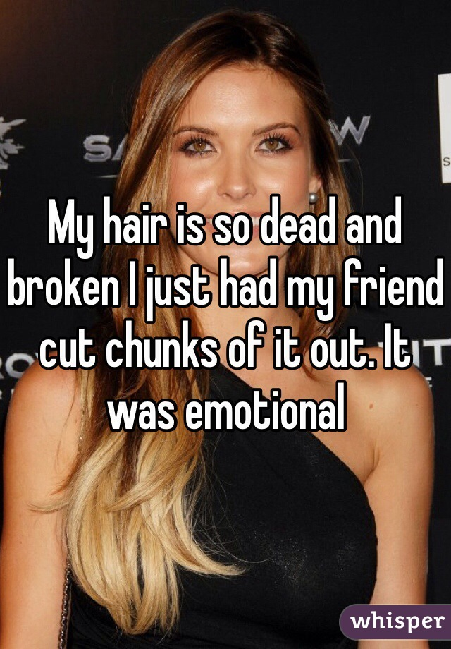 My hair is so dead and broken I just had my friend cut chunks of it out. It was emotional