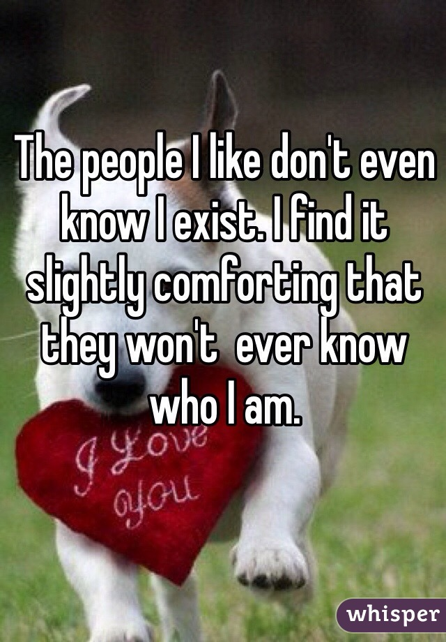 The people I like don't even know I exist. I find it slightly comforting that they won't  ever know who I am.