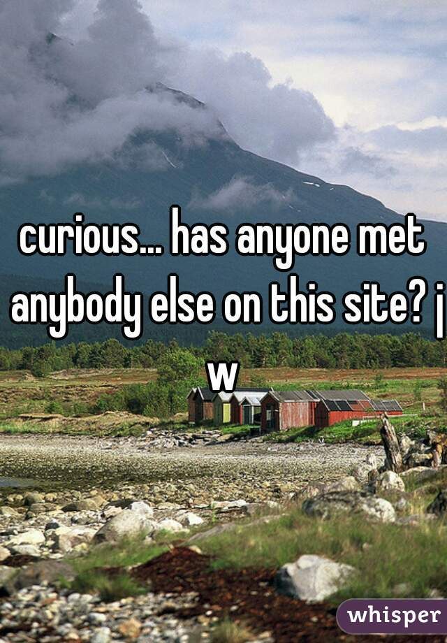 curious... has anyone met anybody else on this site? jw