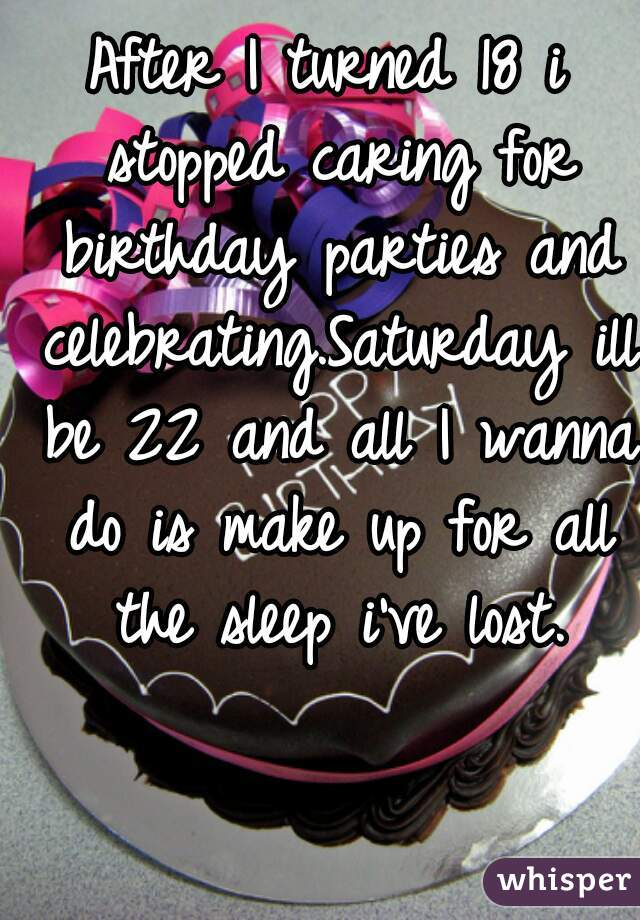 After I turned 18 i stopped caring for birthday parties and celebrating.Saturday ill be 22 and all I wanna do is make up for all the sleep i've lost.