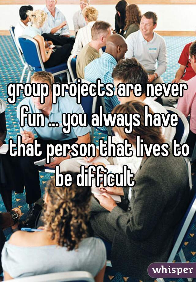 group projects are never fun ... you always have that person that lives to be difficult