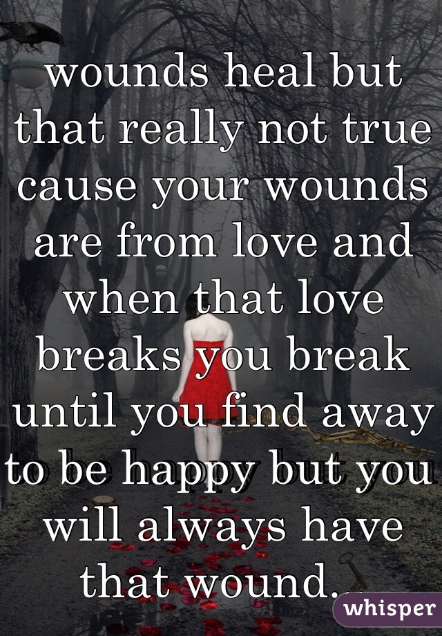 wounds heal but that really not true cause your wounds are from love and when that love breaks you break until you find away to be happy but you will always have that wound...