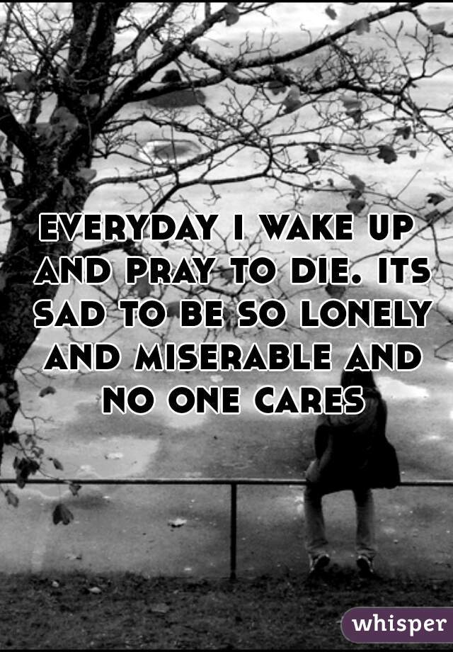 everyday i wake up and pray to die. its sad to be so lonely and miserable and no one cares
