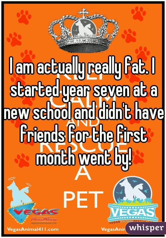 I am actually really fat. I started year seven at a new school and didn't have friends for the first month went by!