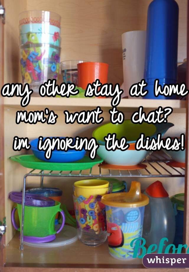 any other stay at home mom's want to chat?  im ignoring the dishes!