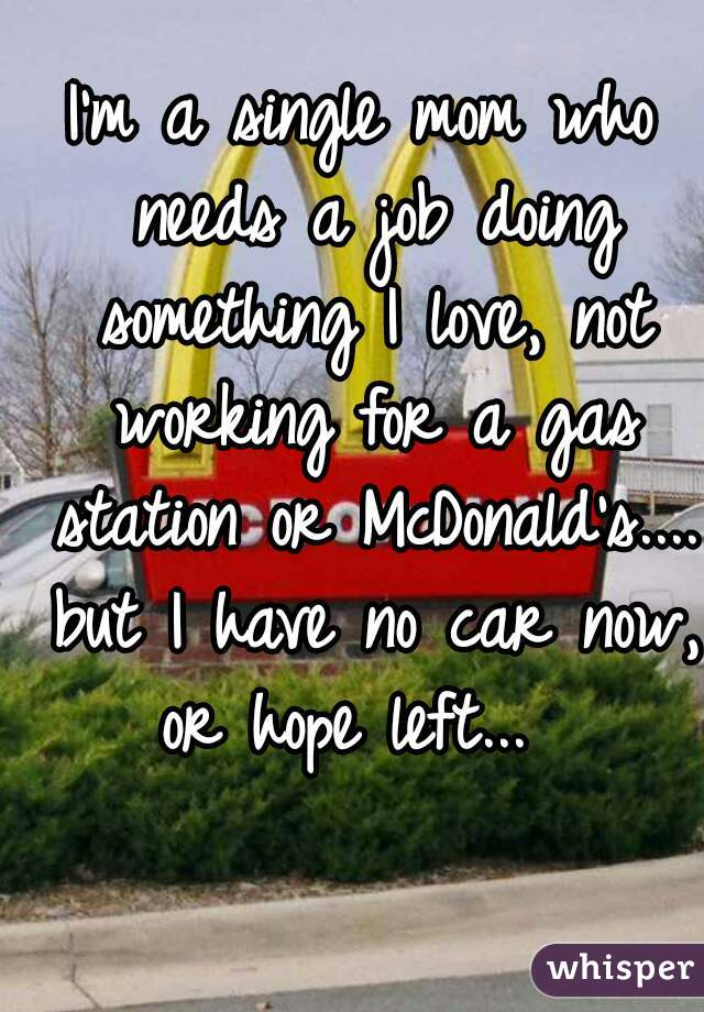 I'm a single mom who needs a job doing something I love, not working for a gas station or McDonald's.... but I have no car now, or hope left...