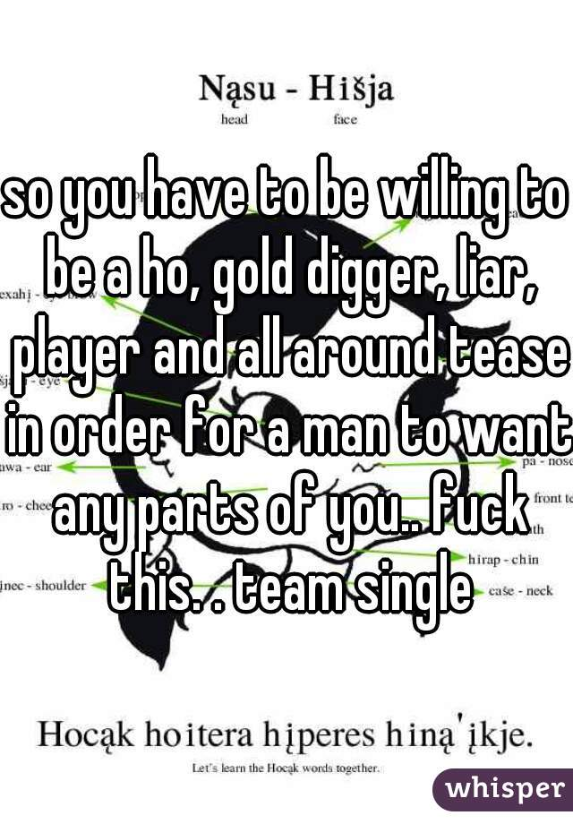 so you have to be willing to be a ho, gold digger, liar, player and all around tease in order for a man to want any parts of you.. fuck this. . team single