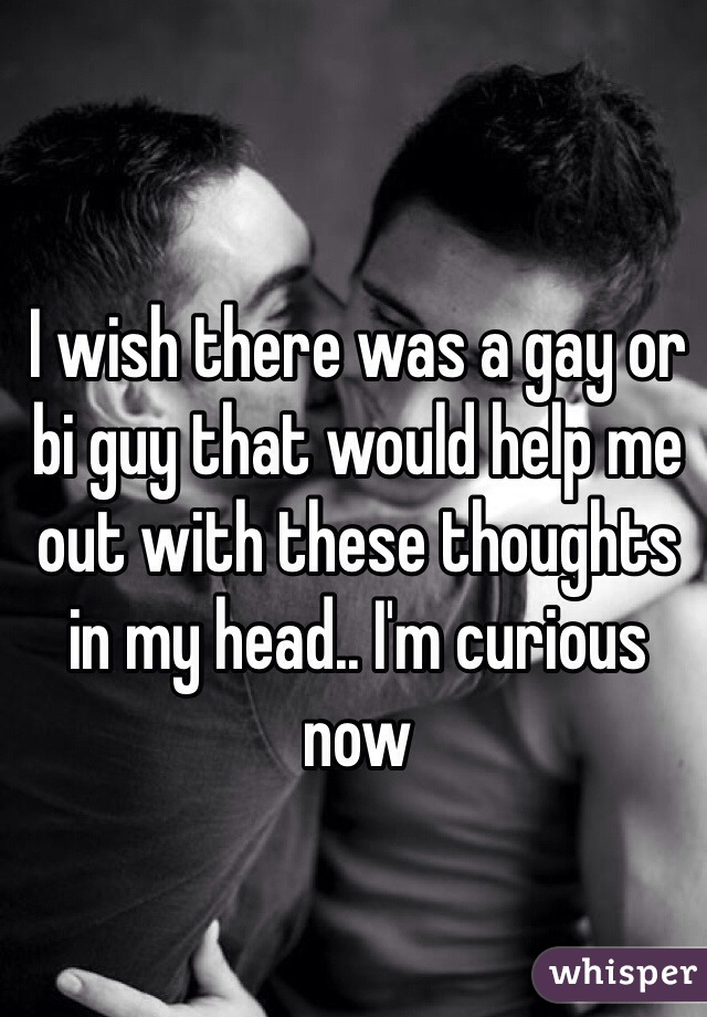 I wish there was a gay or bi guy that would help me out with these thoughts in my head.. I'm curious now
