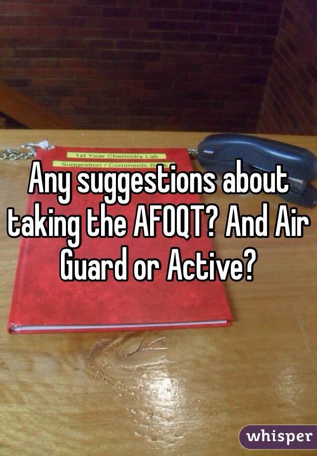 Any suggestions about taking the AFOQT? And Air Guard or Active?