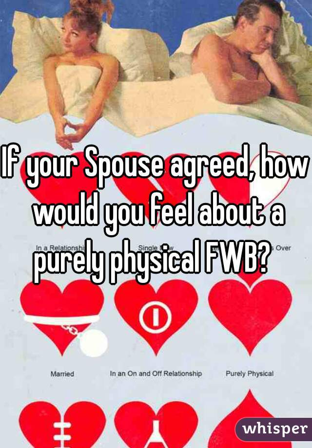 If your Spouse agreed, how would you feel about a purely physical FWB?