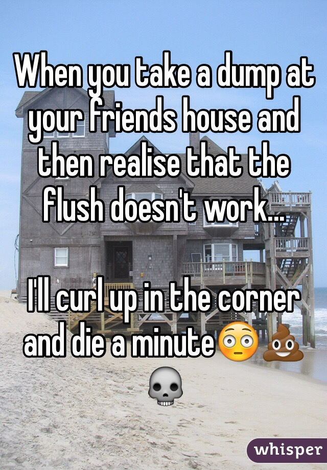 When you take a dump at your friends house and then realise that the flush doesn't work...  I'll curl up in the corner and die a minute😳💩💀
