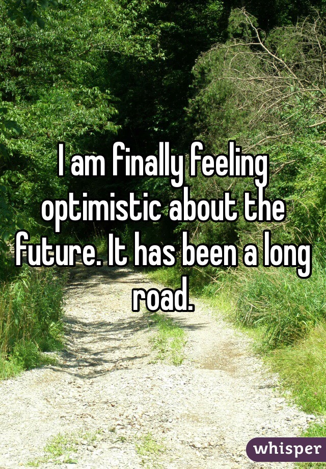 I am finally feeling optimistic about the future. It has been a long road.