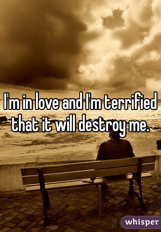 I'm in love and I'm terrified that it will destroy me.