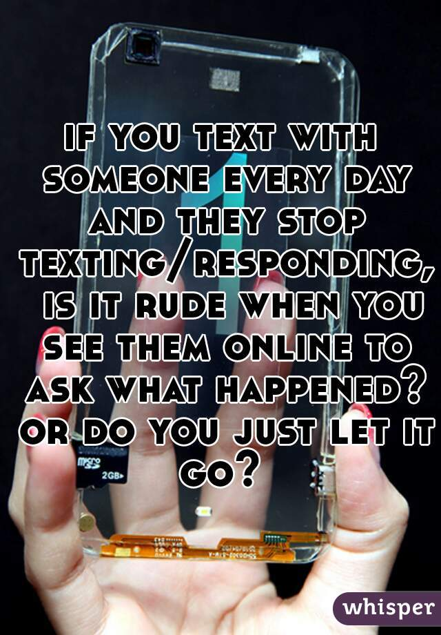 if you text with someone every day and they stop texting/responding,  is it rude when you see them online to ask what happened? or do you just let it go?