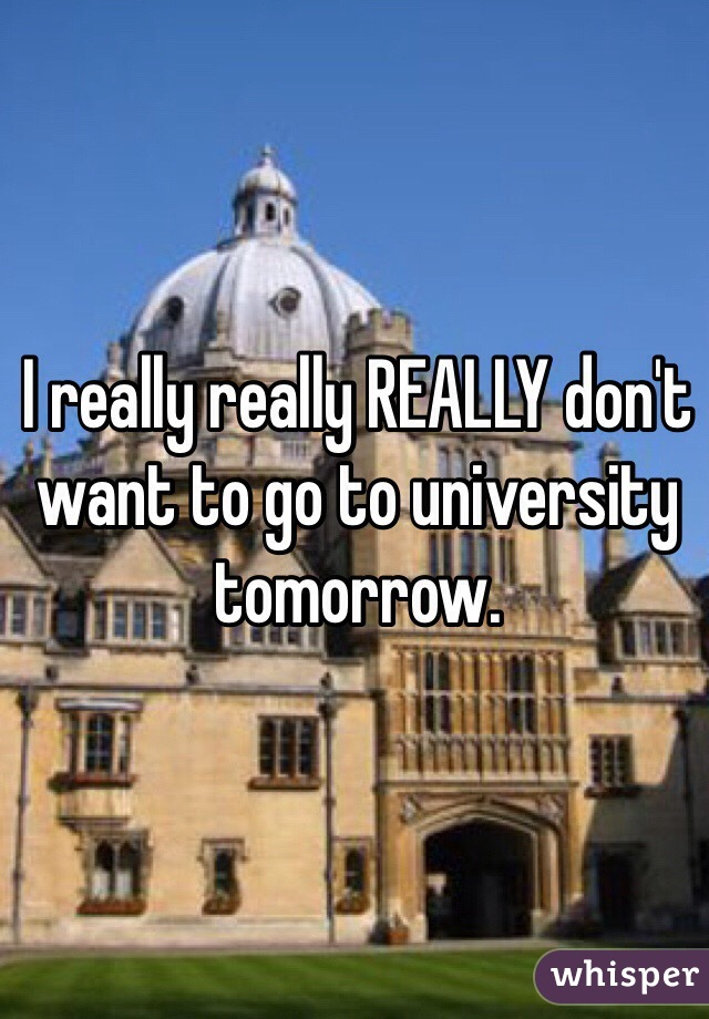 I really really REALLY don't want to go to university tomorrow.