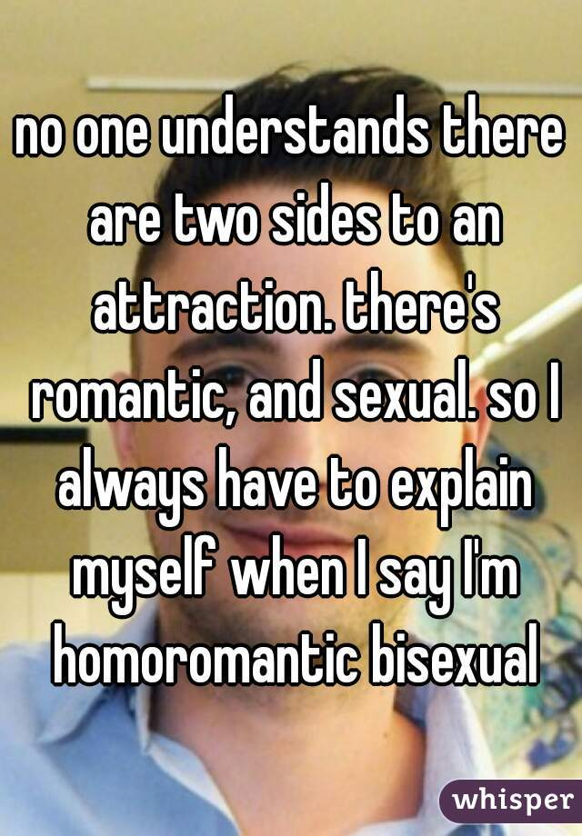 no one understands there are two sides to an attraction. there's romantic, and sexual. so I always have to explain myself when I say I'm homoromantic bisexual