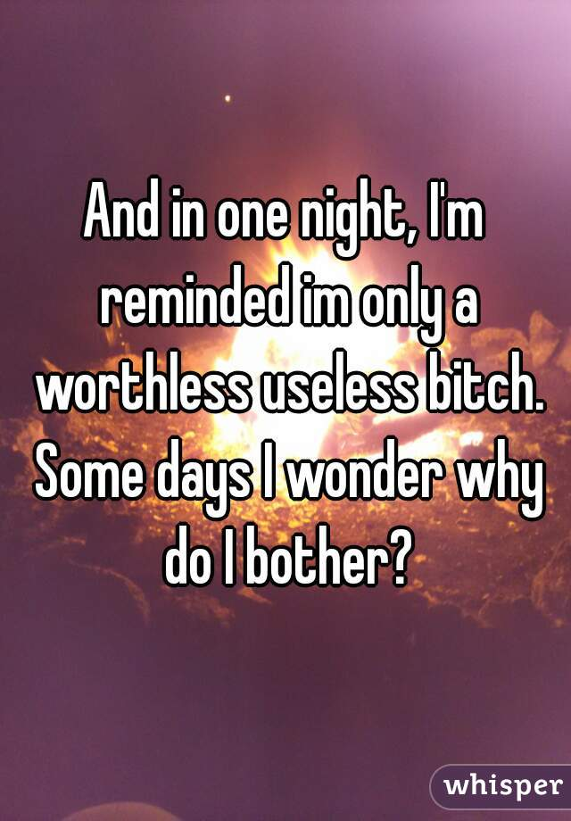 And in one night, I'm reminded im only a worthless useless bitch. Some days I wonder why do I bother?