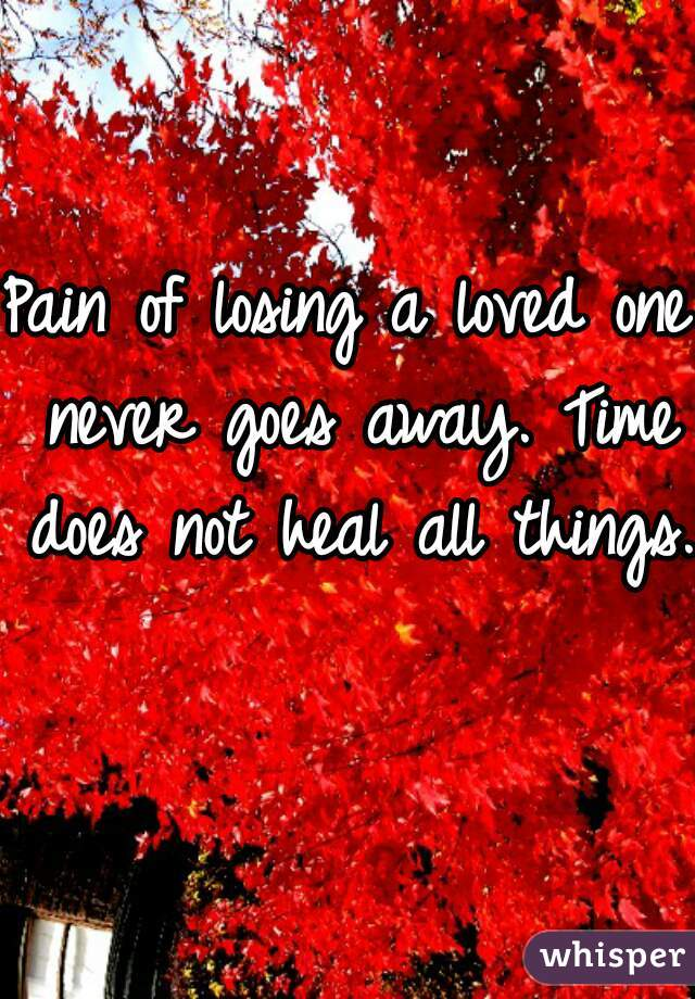 Pain of losing a loved one never goes away. Time does not heal all things.