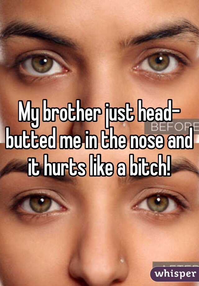 My brother just head-butted me in the nose and it hurts like a bitch!