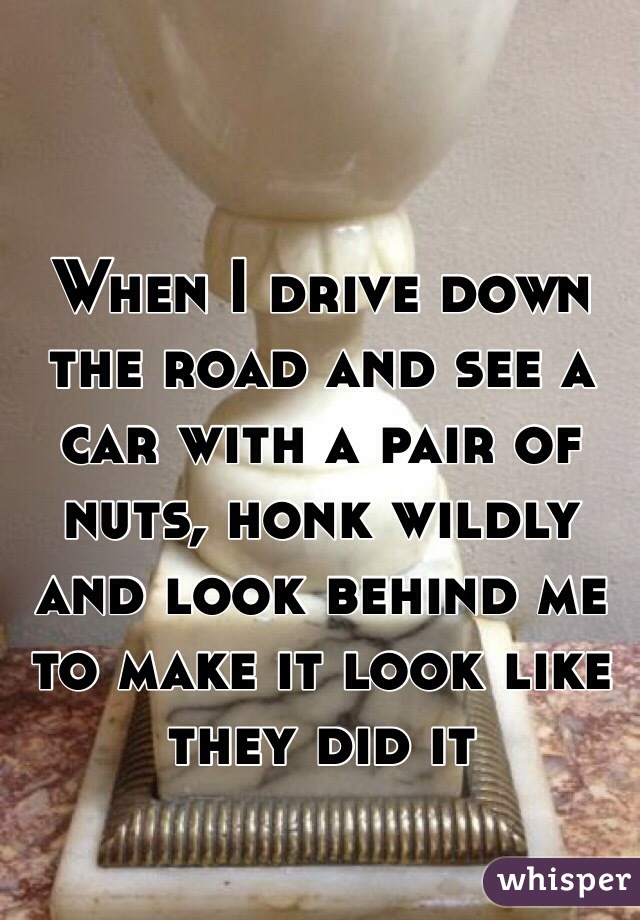 When I drive down the road and see a car with a pair of nuts, honk wildly and look behind me to make it look like they did it